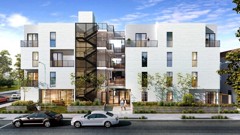 Rendering of a planned co-housing project in Mar Vista to be built by Proper Development and operated by Common.