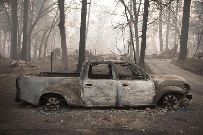 A scene of destruction in a community affected by the Camp Fire, Paradise, California, Nov. 10, 2018. EPA-EFE FILE/Peter DaSilva