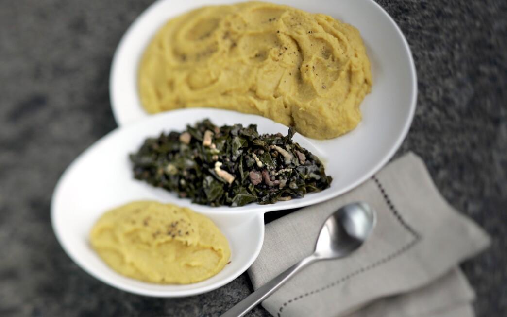 Collard greens and lentils