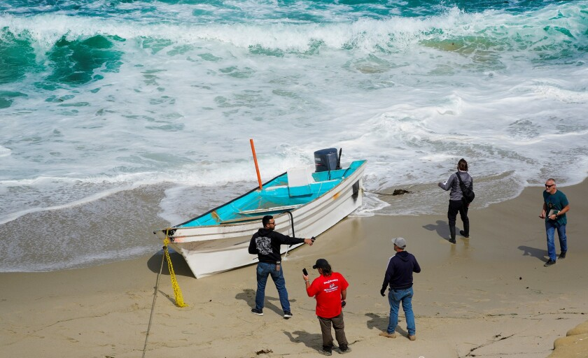 A panga went to shore in La Jolla early May 20. One person died.