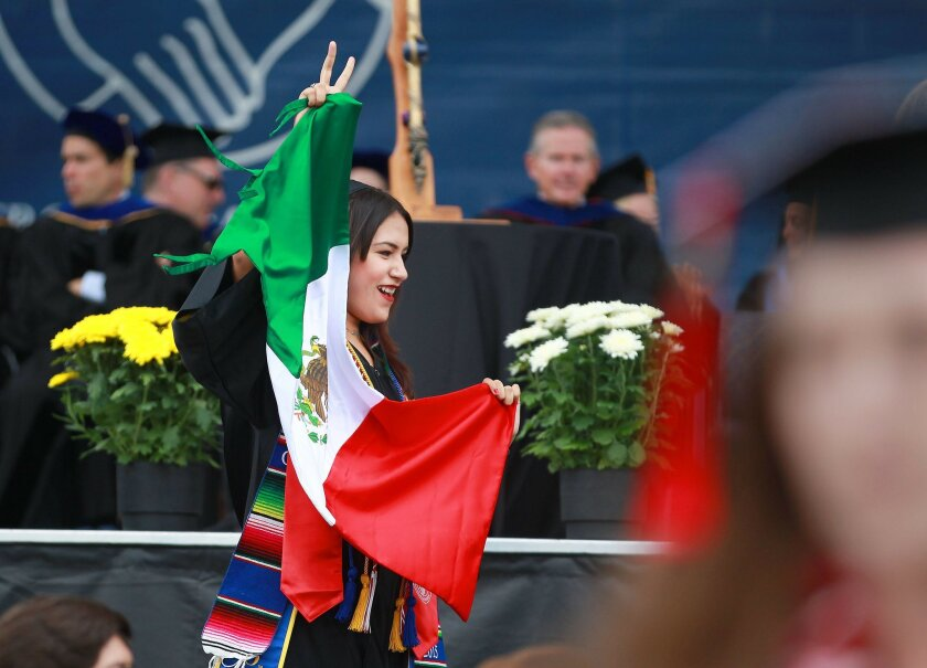 UCSD's Thurgood Marshall School held its commencement Sunday morning on the Rimac Field on campus.  Indira Esparza is a CASP graduate.  CASP stands for Chancellor's Associates Scholars Program.  Photo by John Gastaldo/U-T San Diego