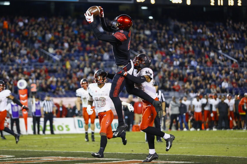 San Diego State wide receiver Tim Wilson Jr. hauls in a touchdown pass from quarterback Christian Chapman in the second quarter against UNLV during the 2018 season.