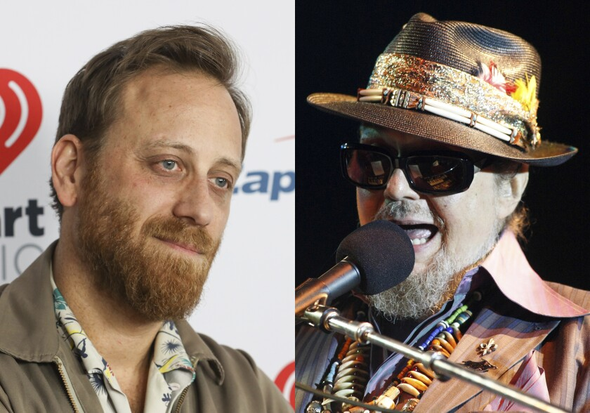 Dan Auerbach of the Black Keys attend the 2020 iHeartRadio ALTer Ego concert at the Forum on Jan. 18, 2020 in Inglewood. Calif., left, and Mac Rebennack, in his stage persona as Dr. John, performs during the opening night of the Newport Jazz Festival in Newport, R.I. on Aug. 3, 2012. Dan Auerbach will make his directorial debut in a documentary feature about the late singer-piano player Dr. John. (AP Photo)