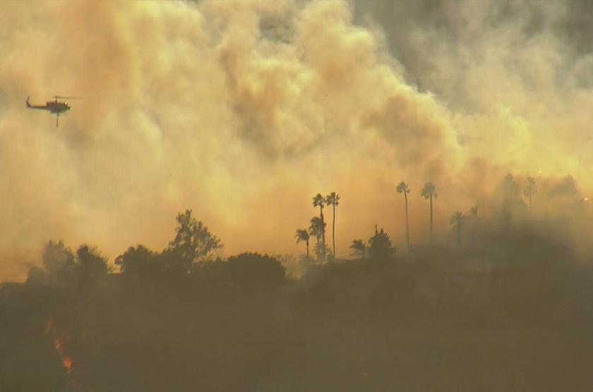 Palisades fire near Palisades Drive in Pacific Palisades