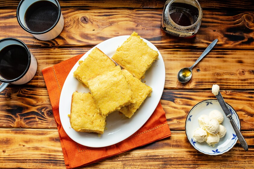 This buttermilk cornbread is not Southern style. It's tender, fluffy with a touch of sweetness, and whole corn kernels.