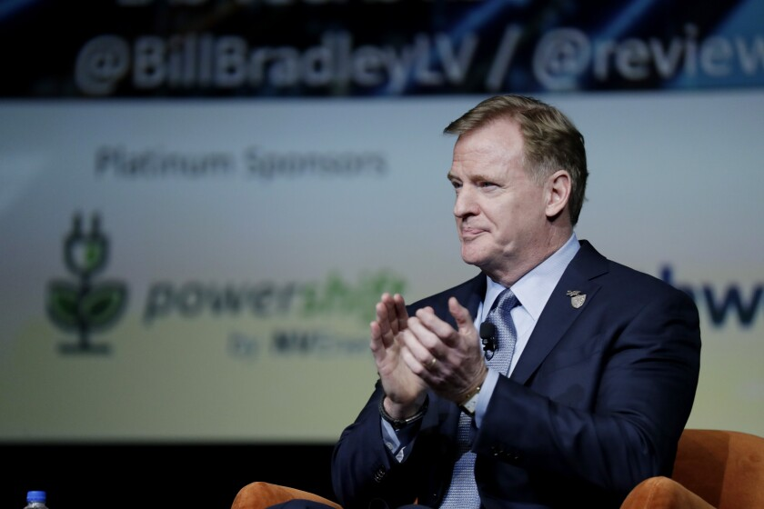 NFL Commissioner Roger Goodell at a Las Vegas business event at Wynn Las Vegas on Jan. 17.