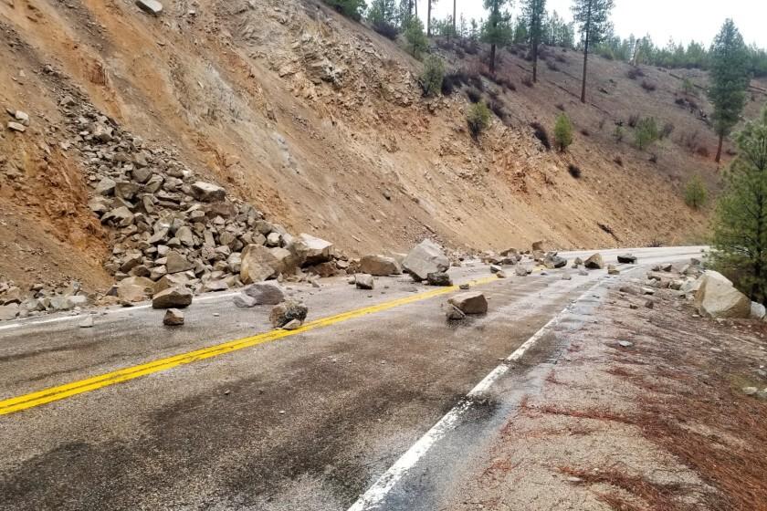 A rockslide near Lowman, Idaho, after an earthquake Tuesday.