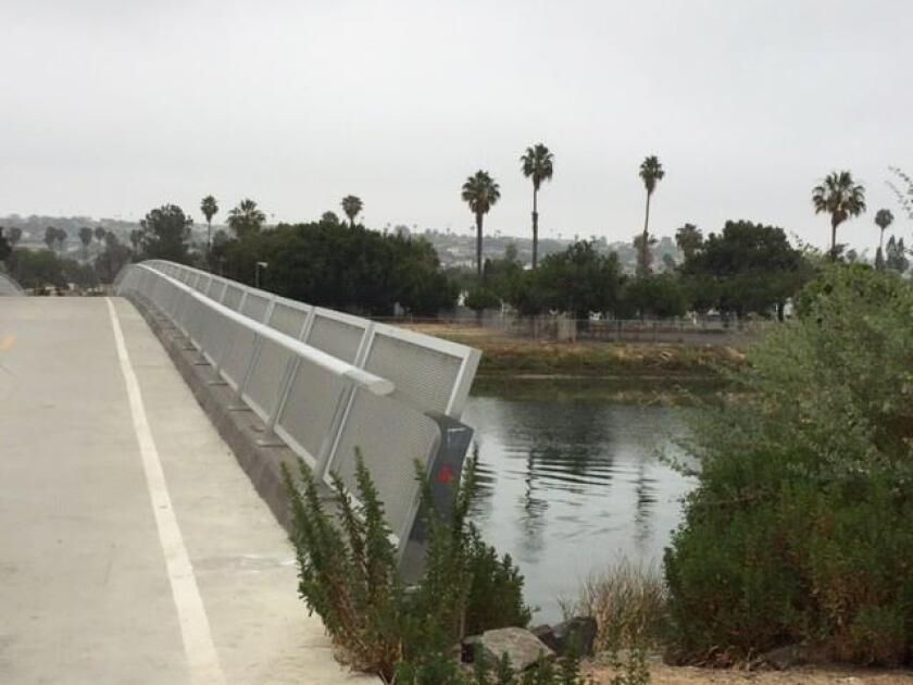 The 260-foot-long Mike Gotch Memorial Bridge was built in 2012 over Rose Creek and connects the Pacific Beach Drive to Mission Bay Drive bicycle network. Gotch was a San Diego City Council member and California State Assembly member who advocated for environmental issues and died of cancer in 2008.