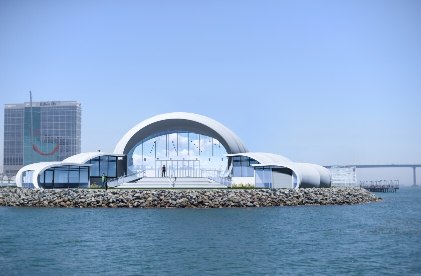 The Symphony's permanent bayside performance center will be located in the same spot as its temporary summer pops venue is today and include public amenities like concrete steps facing the bay.