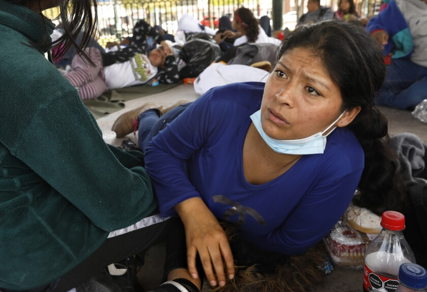 A group of asylum seekers who had just arrived in downtown Reynosa, where sleeping outside in the central plaza.