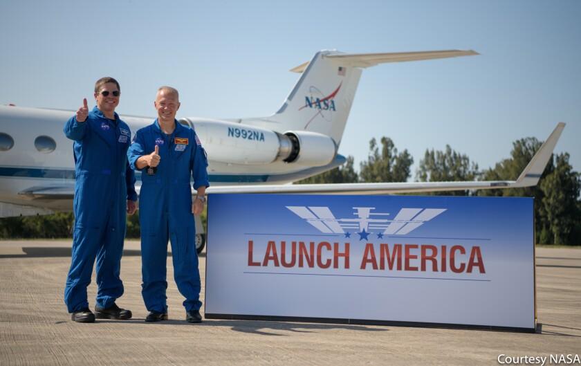 NASA astronauts Robert Behnken and Douglas Hurley at KSC (May 20, 2020)