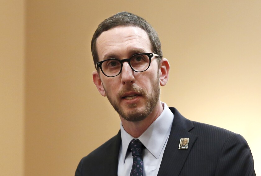 FILE - In this Jan. 21, 2020, file photo, state Sen. Scott Wiener, D-San Francisco, speaks at a news conference in Sacramento, Calif. Wiener said, Tuesday, July 6, 2021, he was told the Assembly Health Committee will delay until next year a hearing on his bill that would give opioid users a place to inject drugs in supervised settings. (AP Photo/Rich Pedroncelli, File)