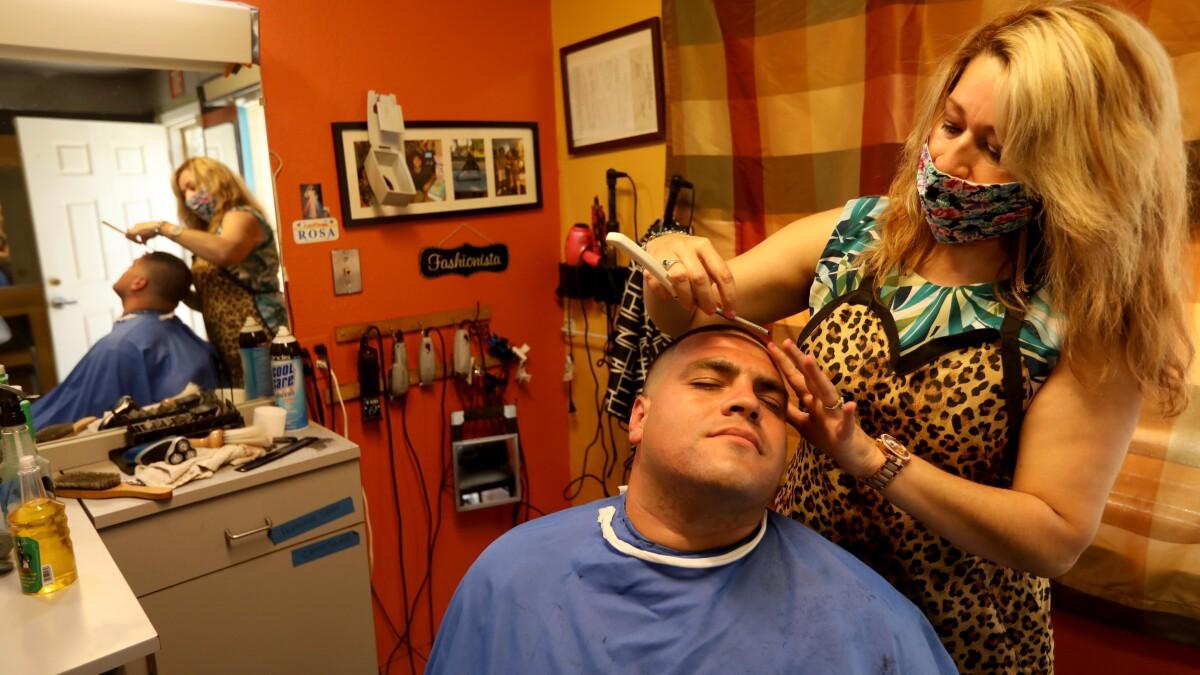 Hair salons, barbershops reopen under state coronavirus plan   Los ...