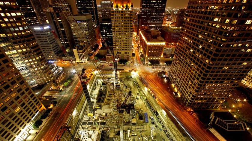 Record concrete pour in downtown L.A.