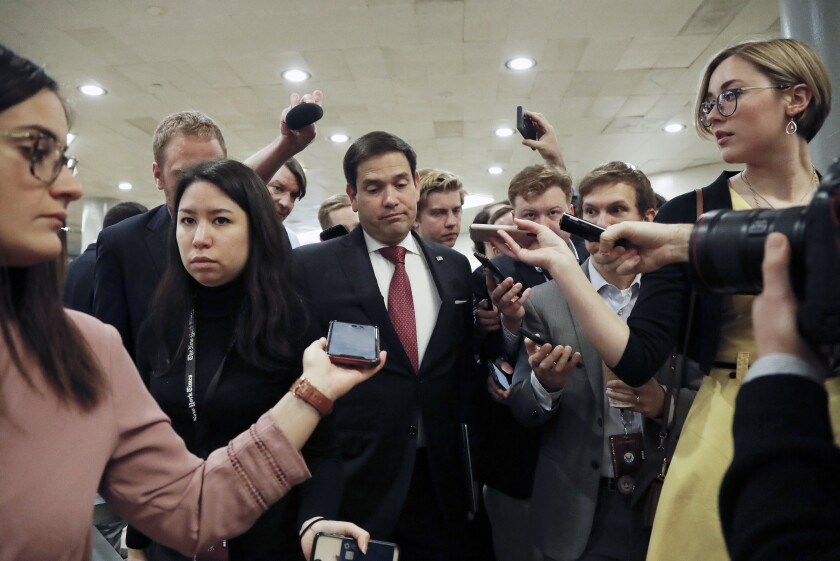 Sen. Marco Rubio taking questions from reporters on Capitol Hill on Jan. 31.