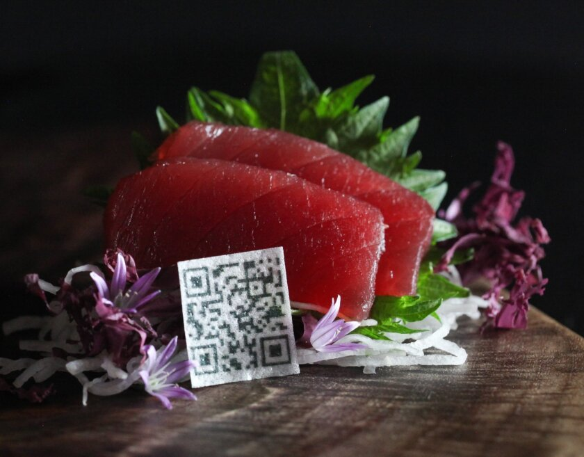 An example of the edible rice paper QR codes that chef Rob Ruiz invented in 2013. Placed on sushi, diners could scan the codes with their cellphone to find out when, where and by whom the fish they were eating was caught.