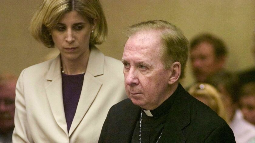 Bishop Thomas O'Brien, seen in a Phoenix courtroom on March 26, 2004, has been accused of molesting a young boy 35 years ago.