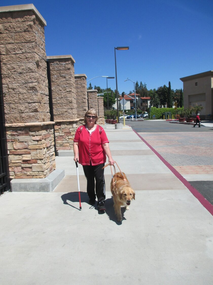 San Marcos resident Adrian Coverly and her specially trained guide dog Marty. The duo recently graduated from the Guide Dogs of the Desert training program.