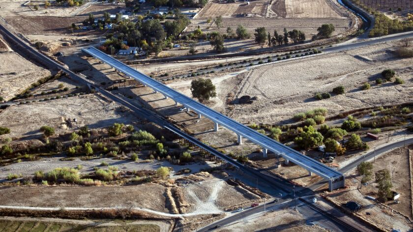 The California bullet train's Fresno River Viaduct is complete outside the city of Madera.