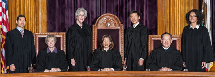 Tani Cantil-Sakauye, center, with members of California Supreme Court in 2016.