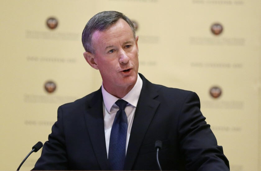 """FILE - In this Aug. 21, 2014, file photo, William McRaven addresses the Texas Board of Regents in Austin, Texas. McRaven, the retired U.S. Navy admiral who directed the raid that killed Osama bin Laden, is continuing his career as an author. McRaven is adapting his best-selling """"Make Your Bed: Little Things That Can Change Your Life ... And Maybe the World"""" for younger audiences. Little, Brown Books for Young Readers announced Monday that McRaven's """"Make Your Bed With Skipper the Seal"""" will come out Oct. 12. (AP Photo/Eric Gay, File)"""