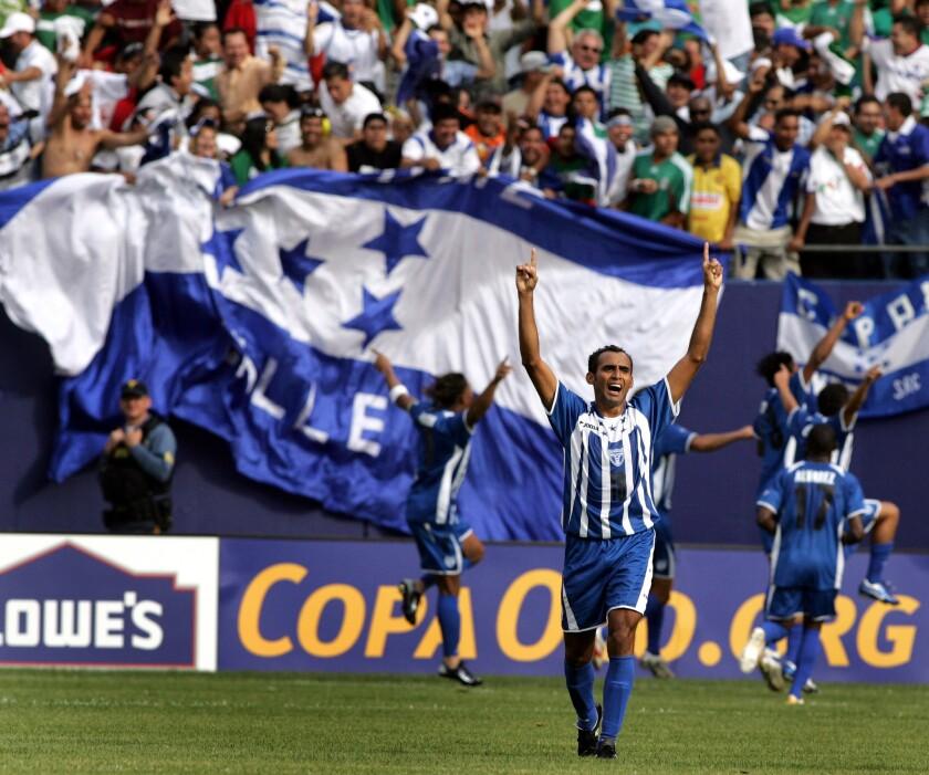 Mario Rodriguez of Honduras celebrates h