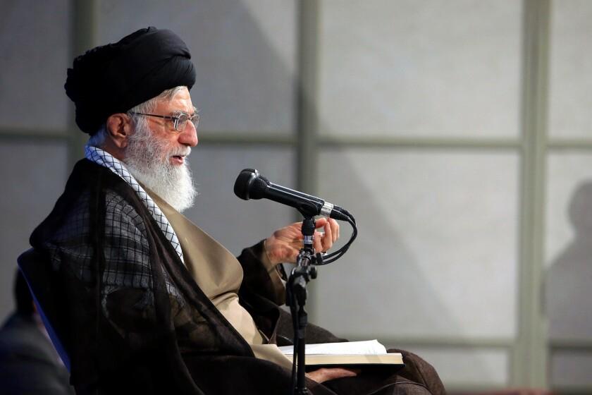Iran's supreme leader, Ayatollah Ali Khamenei, speaks at a meeting in Tehran on Sept. 12, 2017.