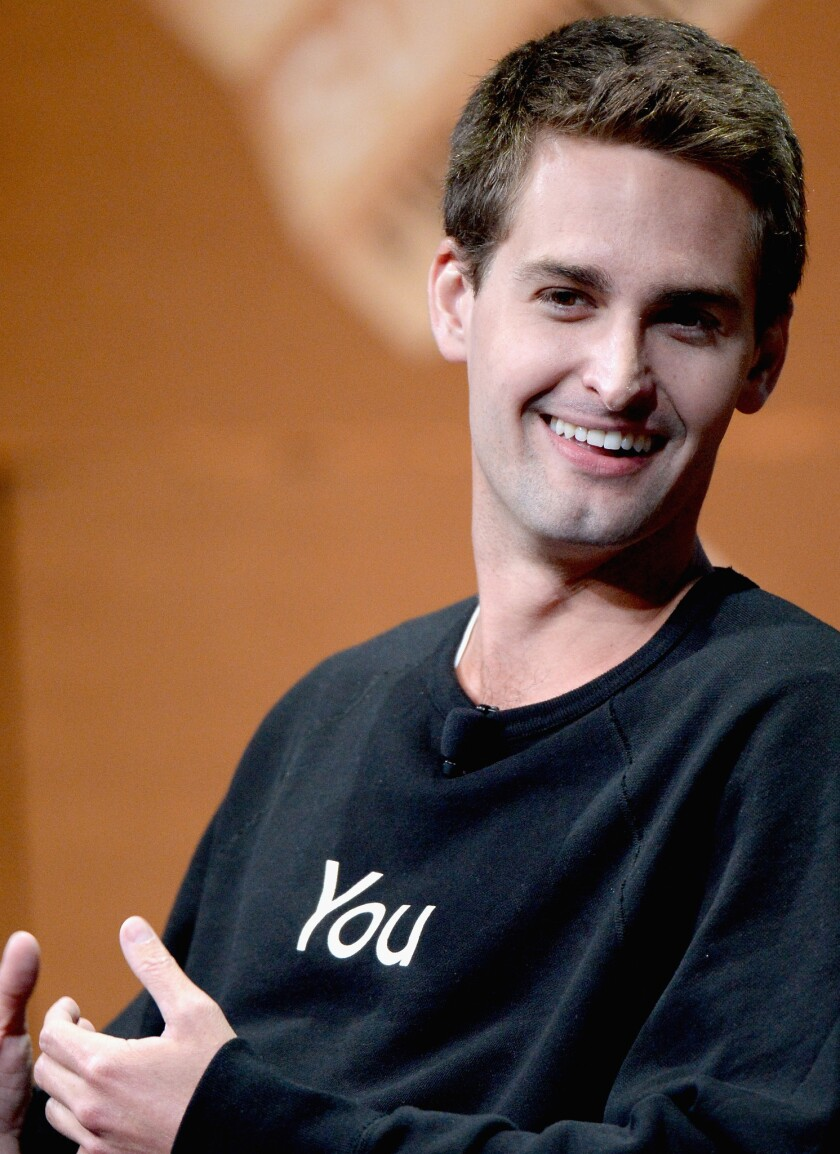 "Snapchat Chief Executive Evan Spiegel speaks during ""Disrupting Information and Communication"" at the Vanity Fair New Establishment Summit at Yerba Buena Center for the Arts Oct. 8 in San Francisco"