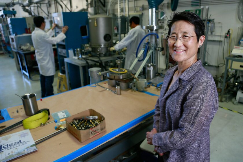.Vice president of nuclear technologies and materials at General Atomics Dr. Christina Back poses for a photo at the General Atomics composite lab in La Jolla. So far, General Atomics has spent $40 million on the EM2 project, a type of nuclear reactor which the company claims will revolutionize the