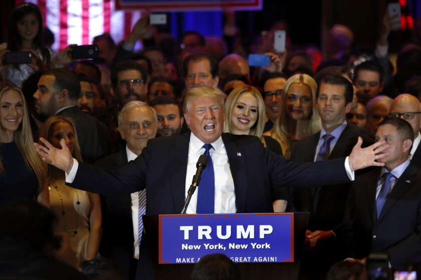Republican presidential candidate Donald Trump celebrates in New York after his primary win.