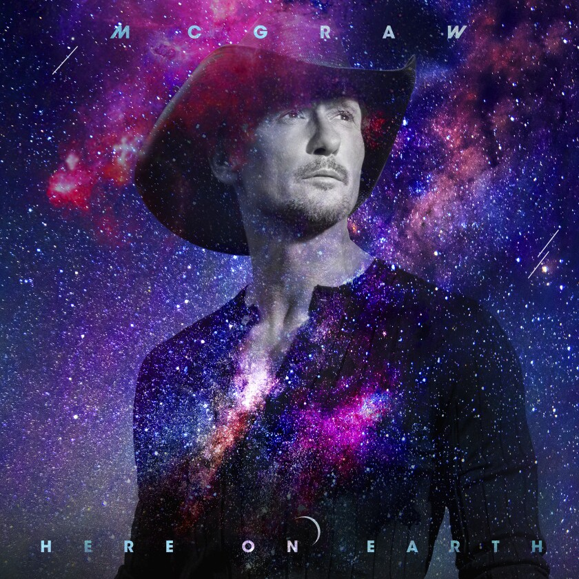 """This cover image released by Big Machine shows """"Here on Earth"""" by Tim McGraw. The album, available on Friday, features several hit Nashville songwriters, including Shane McAnally, Jessie Jo Dillon, Luke Laird and Lori McKenna, who won a Grammy for penning McGraw's hit """"Humble and Kind."""" (Big Machine via AP)"""