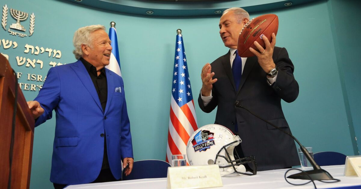 Patriots owner Robert Kraft touches down in Jerusalem, where he's
