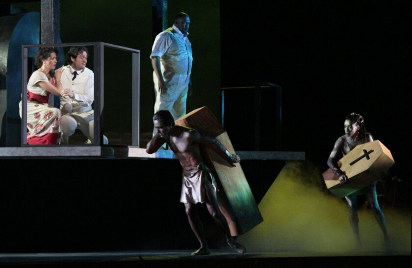 "Lisette Oropesa, left, Arturo Chacón-Cruz, Gordon Hawkins and the cast in L.A. Opera's production of Daniel Catan's ""Florencia en el Amazonas"" at the Dorothy Chandler Pavilion."