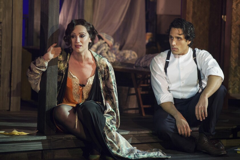 """Eden Espinosa as Sadie Thompson and Jared Zirilli as Alfred Davidson in """"Rain"""" at The Old Globe."""