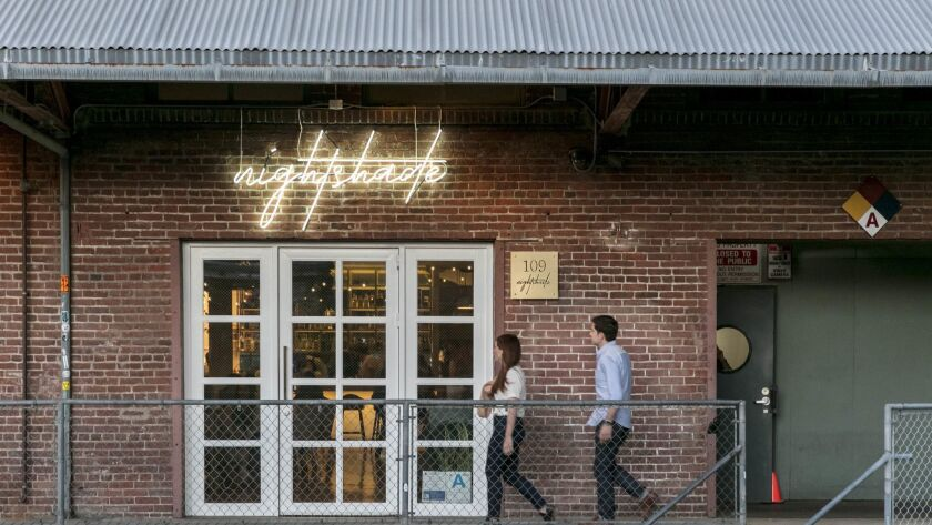 LOS ANGELES, CALIFORNIA - APR. 10, 2019: An exterior of Nightshade, a new restaurant by chef and ow