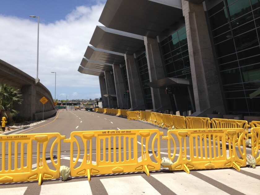 The western end of Terminal 2 has been blocked off to allow expansion for a new customs inspection s