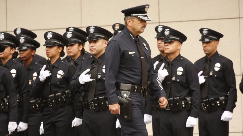 LOS ANGELES, CA - JULY 08, 2016 - LAPD Chief Charlie Beck conducts inspection of recruits as the Los