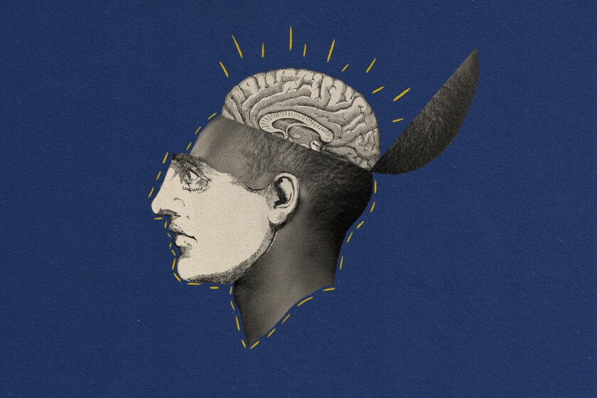 Illustration of a man with brain coming out of the top of his head.