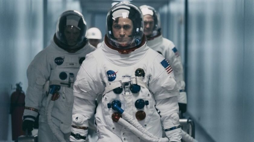 "Lukas Haas, Ryan Gosling and Corey Stoll in ""First Man."" MUST CREDIT: Daniel McFadden, Universal **"