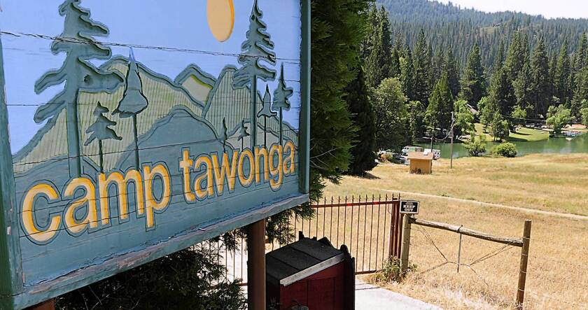 The entrance to Camp Tawonga in Groveland, Calif., is shown. One person was killed and four others were injured when a large tree fell at the youth camp near Yosemite National Park. No children were hurt.
