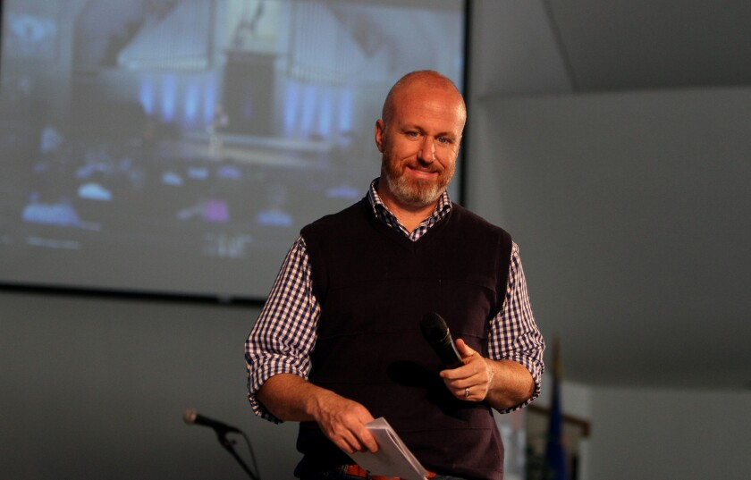 Exodus International President Alan Chambers makes an introduction during an Exodus conference at Concordia University Center in Irvine.