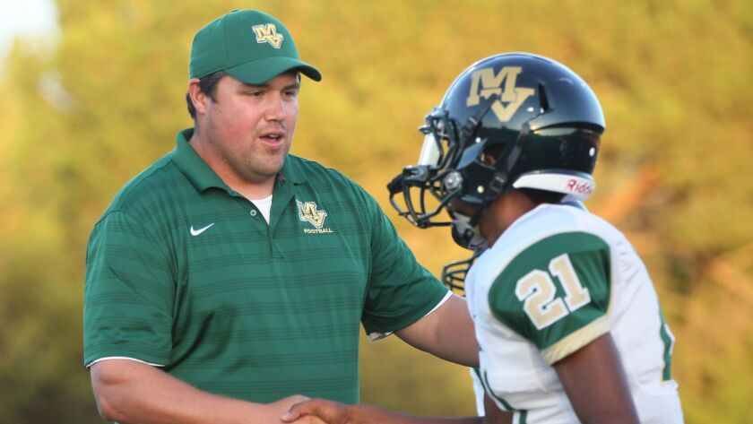 Tyler Arciaga, who played quarterback for Bonita Vista as a student, is in his fifth year as Mar Vista head coach.