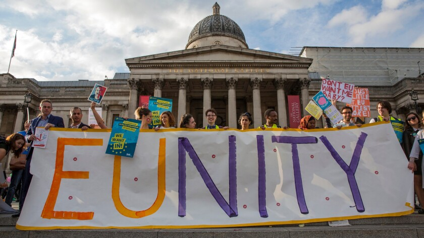 A 'Remain In' rally in central London's Trafalgar Square