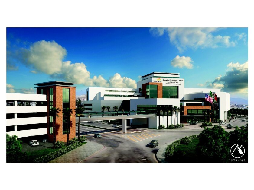 This architectural rendering shows the future shape of a new $120 million hospital to be built in Tijuana by Sistemas Medicos Nacionales S.A. (SIMNSA).