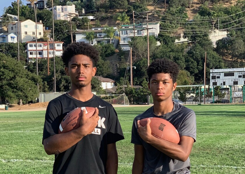 Eagle Rock High football players Axel, left, and Alex Ayers