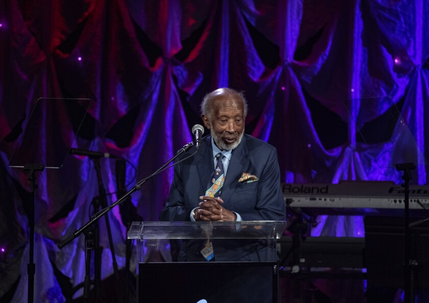 BEVERLY HILLS, CA - FEBRUARY 9, 2019: Music Executive Clarence Avant accepts the Industry Icon award