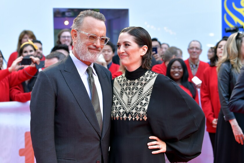 "Tom Hanks and Marielle Heller attend the ""A Beautiful Day in the Neighborhood"" premiere at the 2019 Toronto International Film Festival."