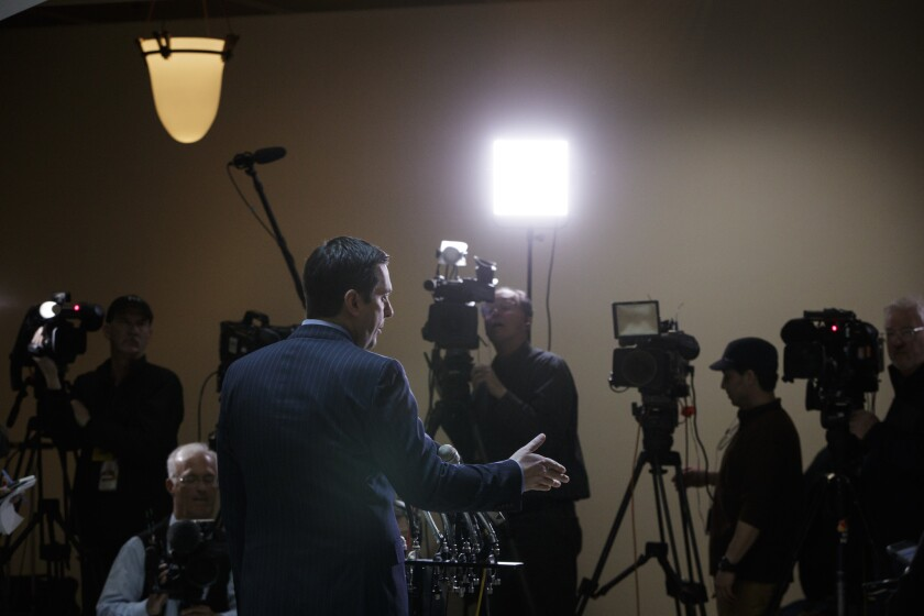 Devin Nunes (R-Tulare) gives reporters an update about the ongoing Russia investigation.