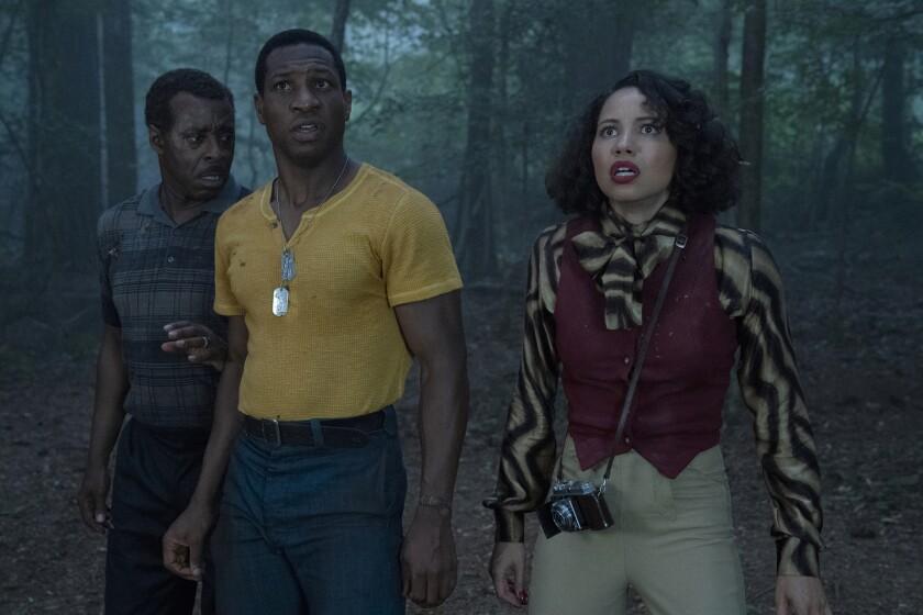 "Courtney B. Vance, left, Jonathan Majors and Jurnee Smollett in ""Lovecraft Country"""
