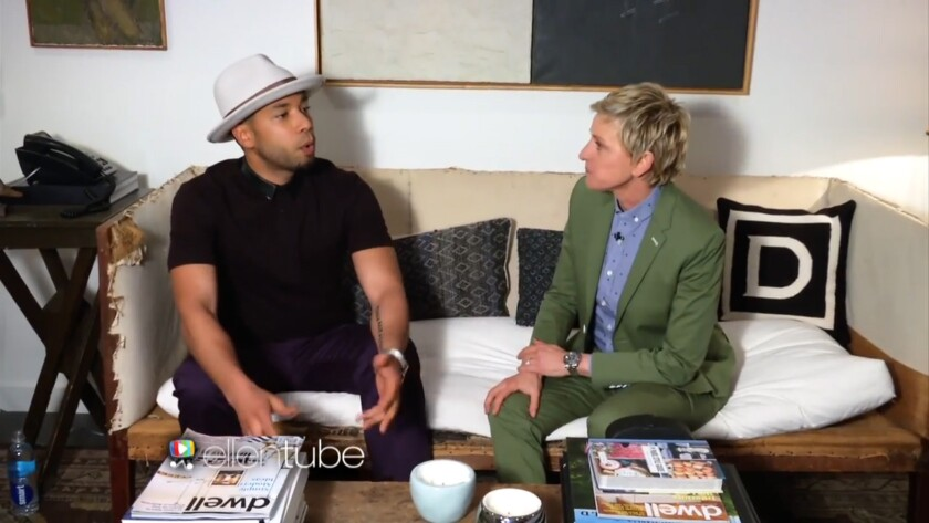 Jussie Smollett talks about his personal life during a backstage chat with Ellen DeGeneres.